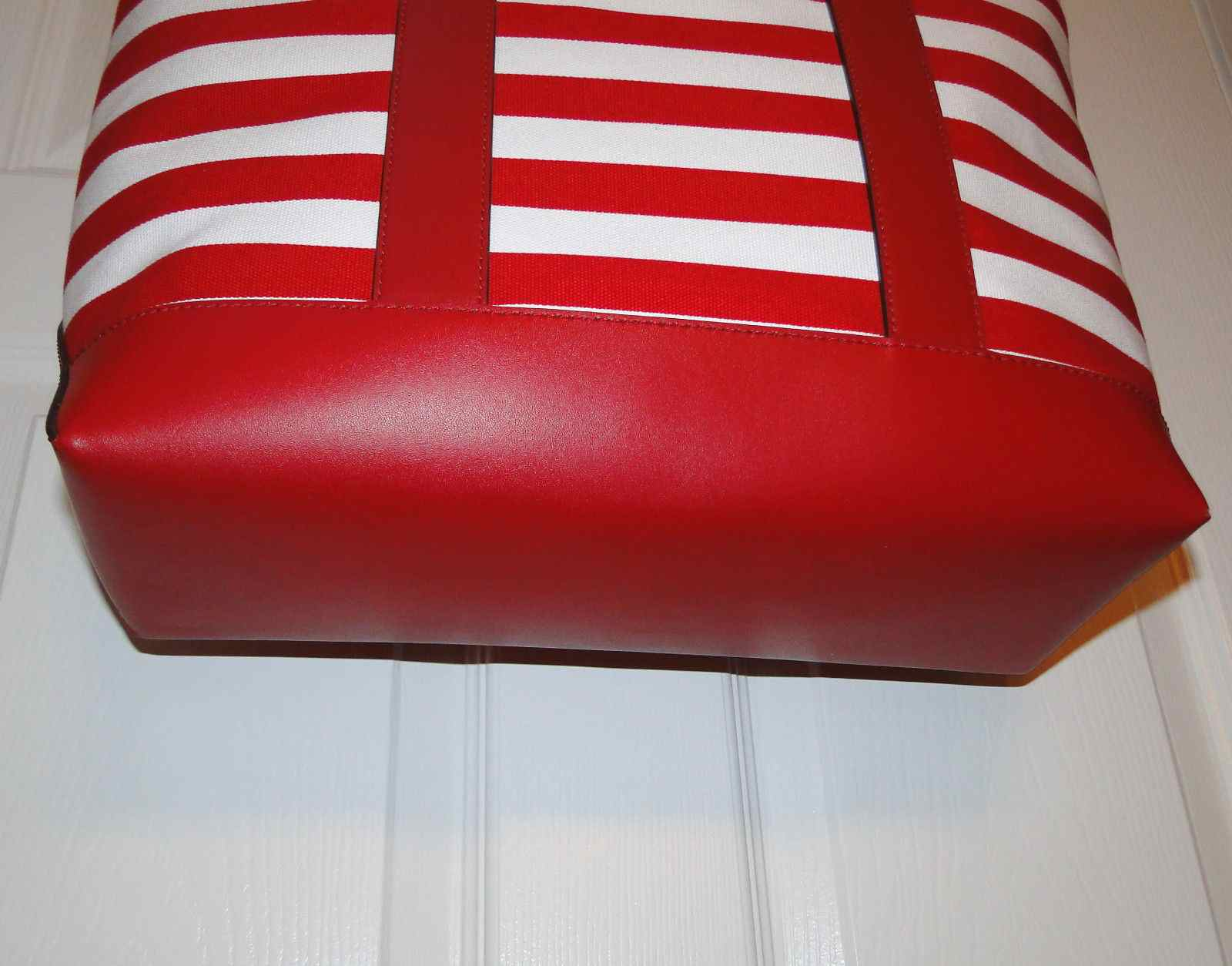 Michael Kors Fulton Canvas Striped Tote Shopper Bag Red & White