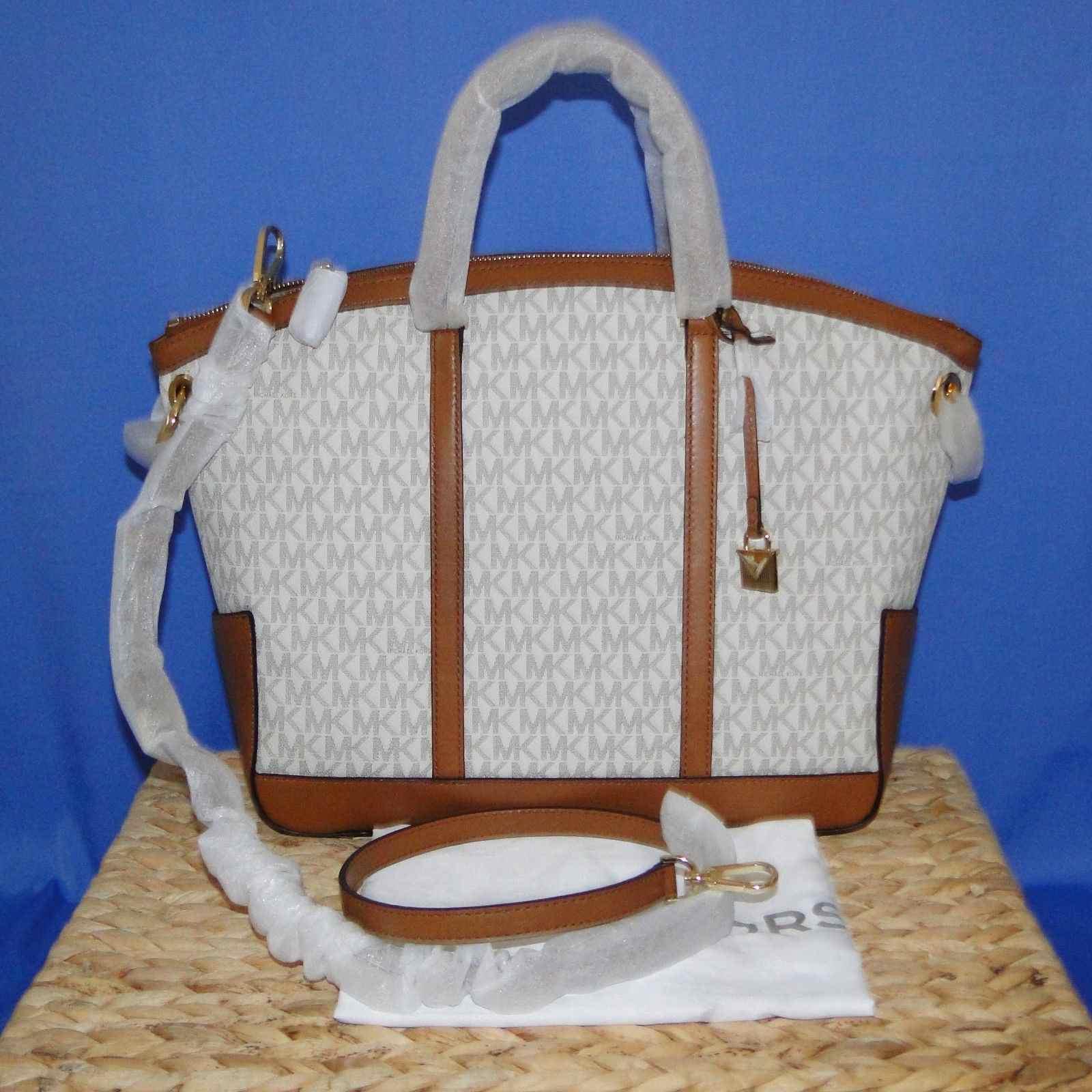 Michael Kors Beckett Lg Signature Satchel Handbag NWT Vanilla/Acorn