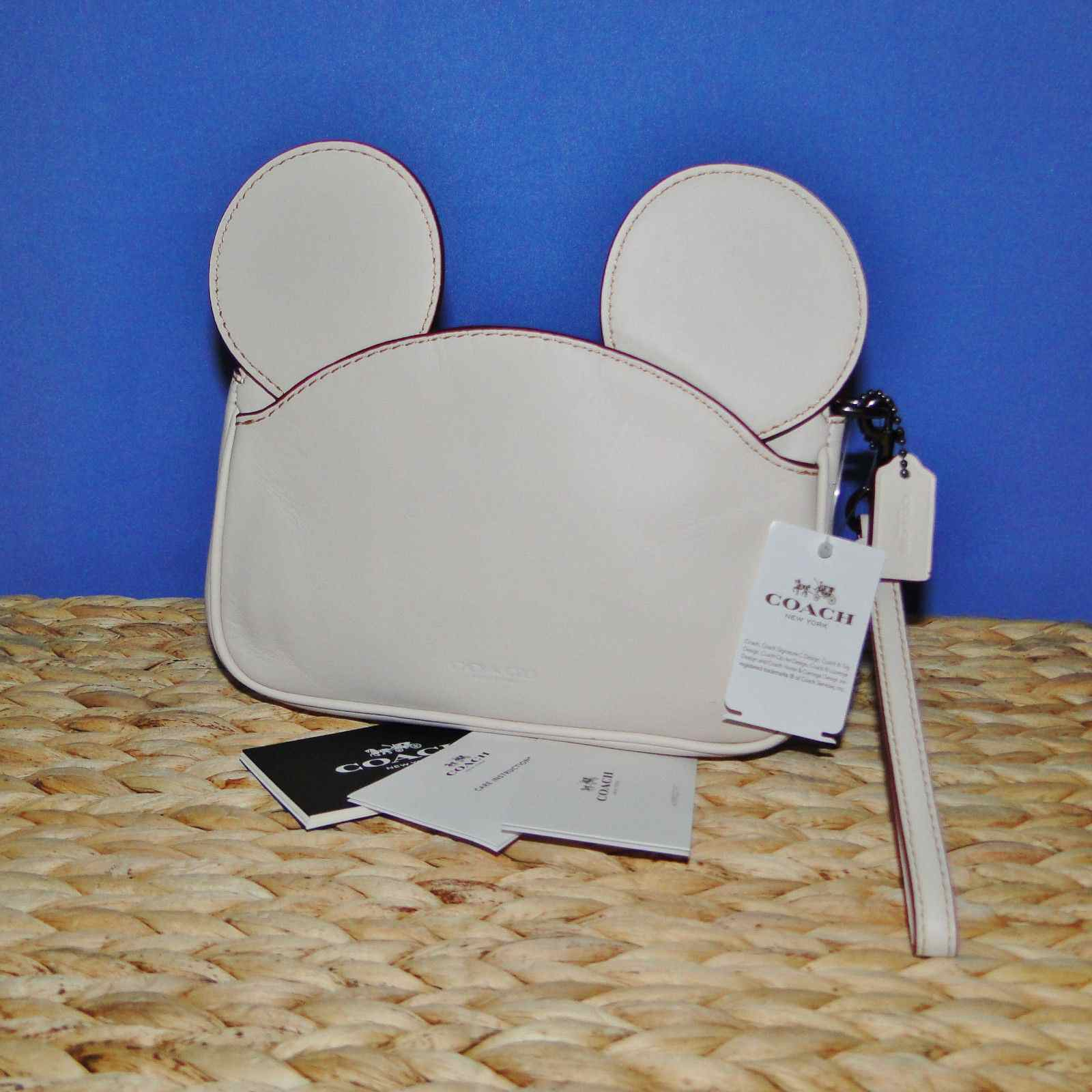 Coach X Disney Mickey Ears Leather Wristlet Ltd Edition Collection Chalk