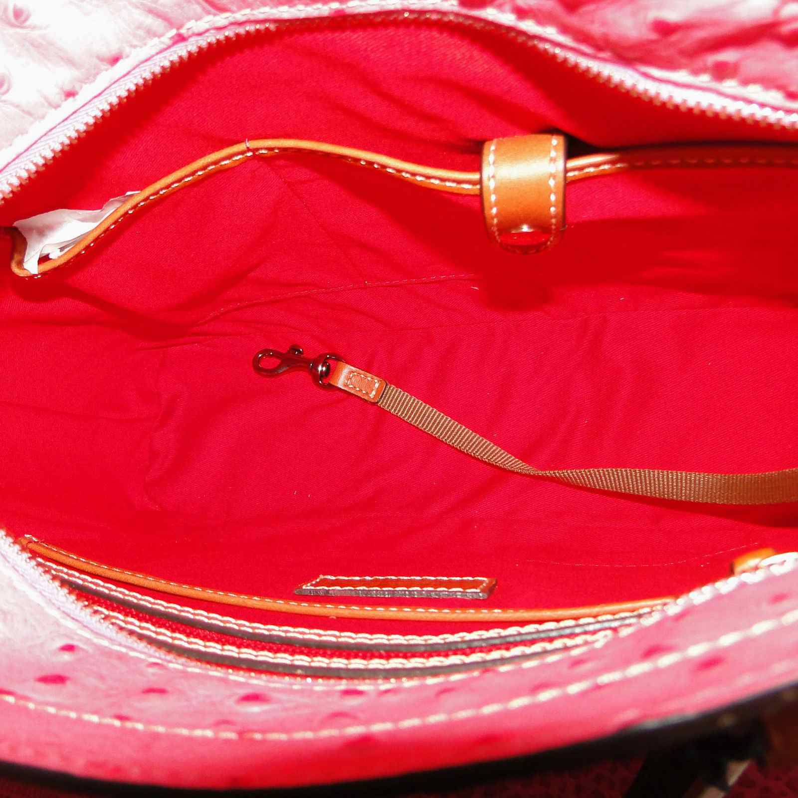 Dooney & Bourke Ostrich Small Lexington Shopper Hot Pink