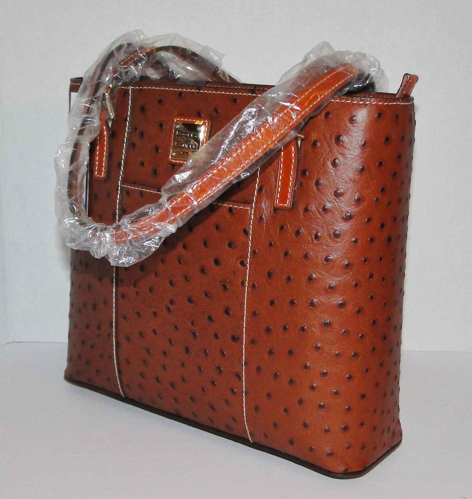 Dooney & Bourke Ostrich Lexington Cognac Small Shopper
