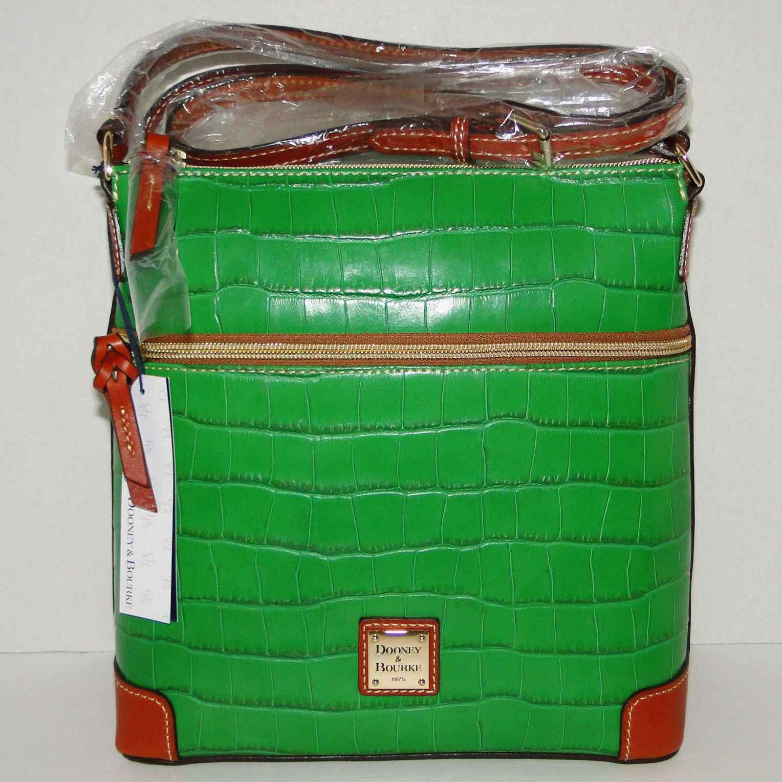 Dooney & Bourke Croco Emb Leather Crossbody Purse Grass Green