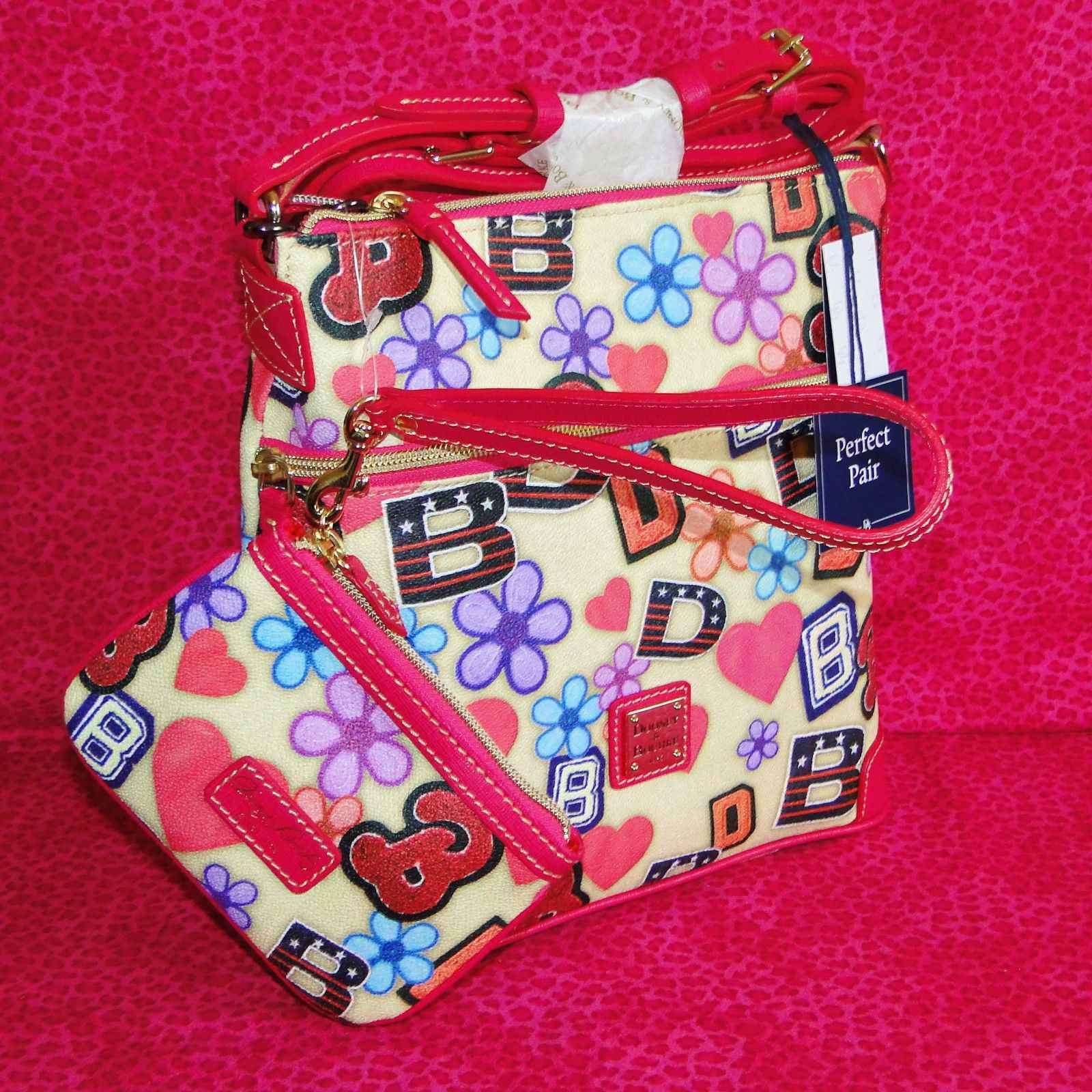 NWT Dooney & Bourke Varsity Crossbody Bag & Med Wristlet Set