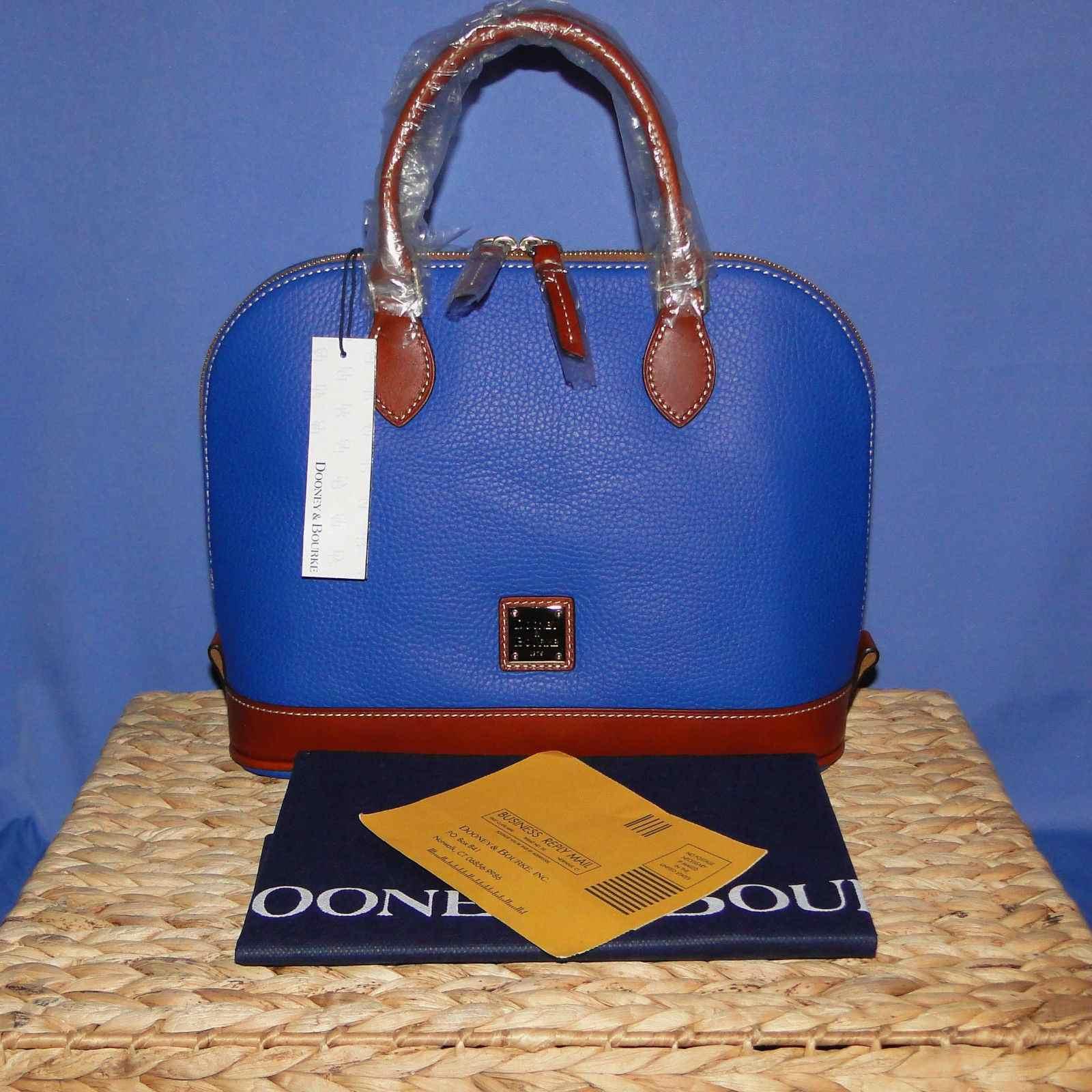 NWT Dooney & Bourke Pebble Leather Zip Zip Satchel French Blue