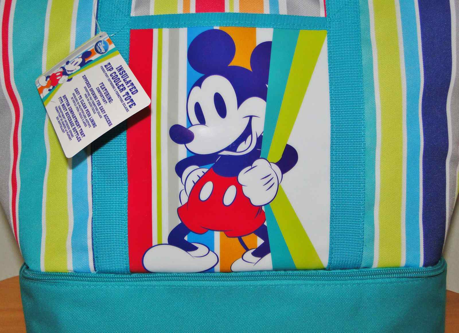 Disney Mickey Mouse Insulated Zip Cooler Tote Summer Fun New With Tags